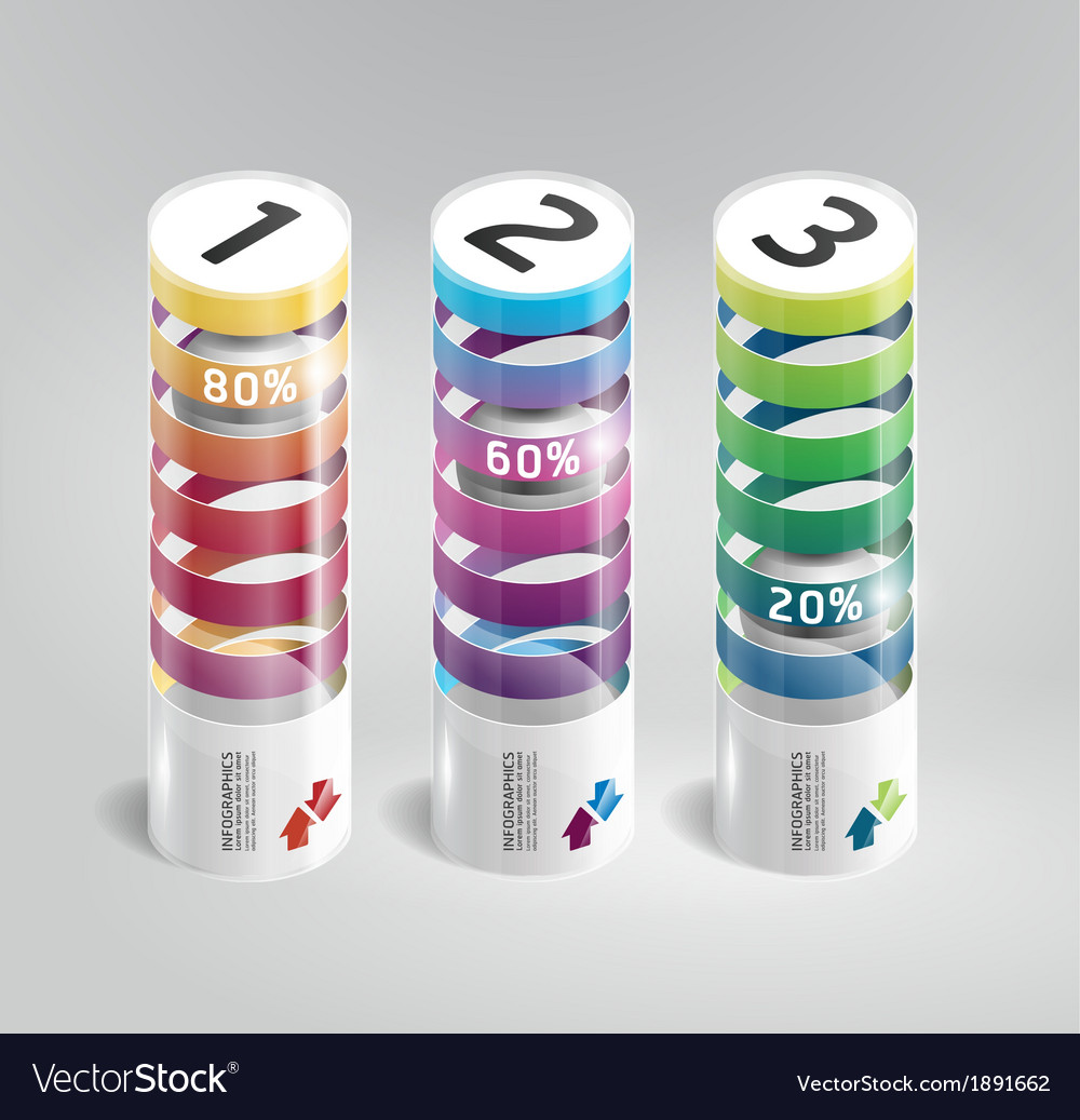 Infographic template modern cylindrical design vector | Price: 1 Credit (USD $1)
