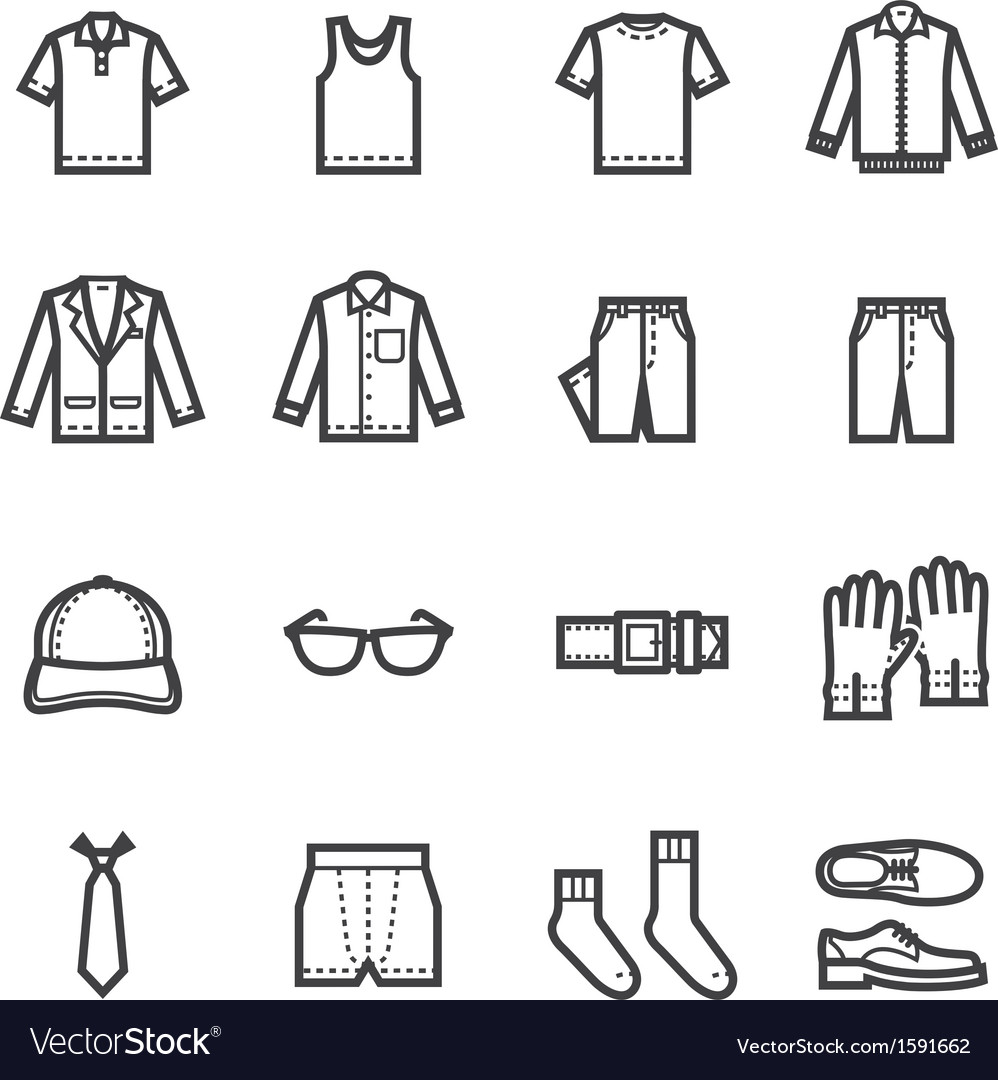 Men clothing icons vector | Price: 1 Credit (USD $1)