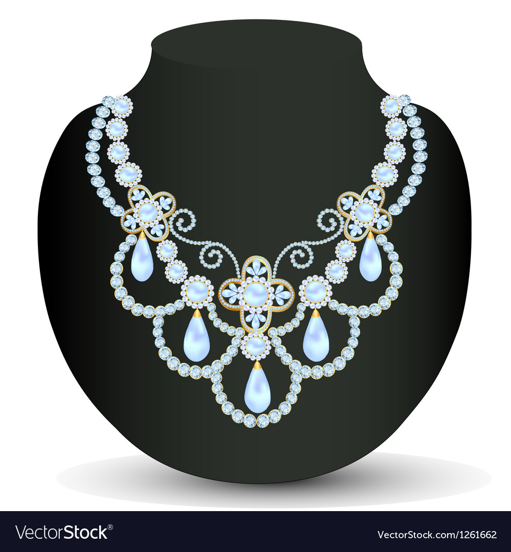 Necklace women blue for marriage with pearls and p vector | Price: 1 Credit (USD $1)