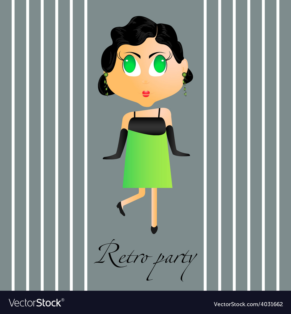 Retro party girl vector | Price: 1 Credit (USD $1)