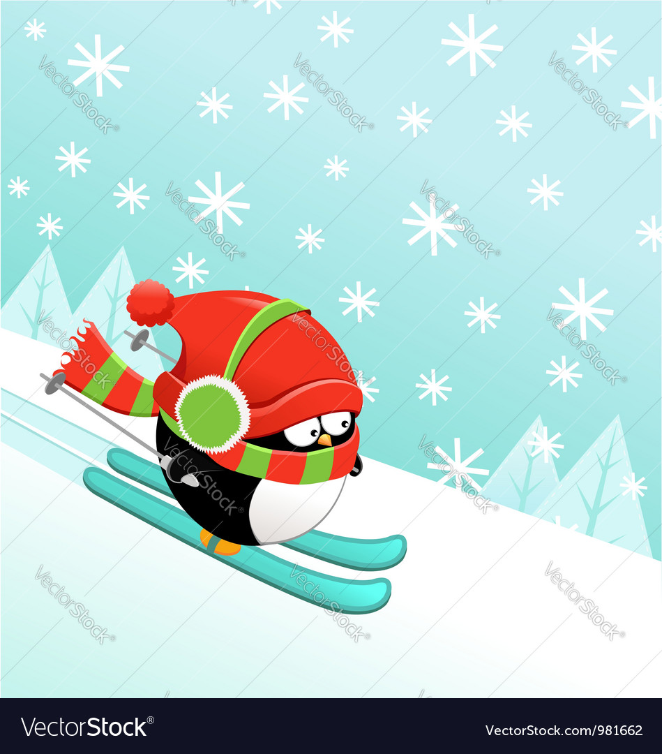 Skiing penguin vector | Price: 1 Credit (USD $1)