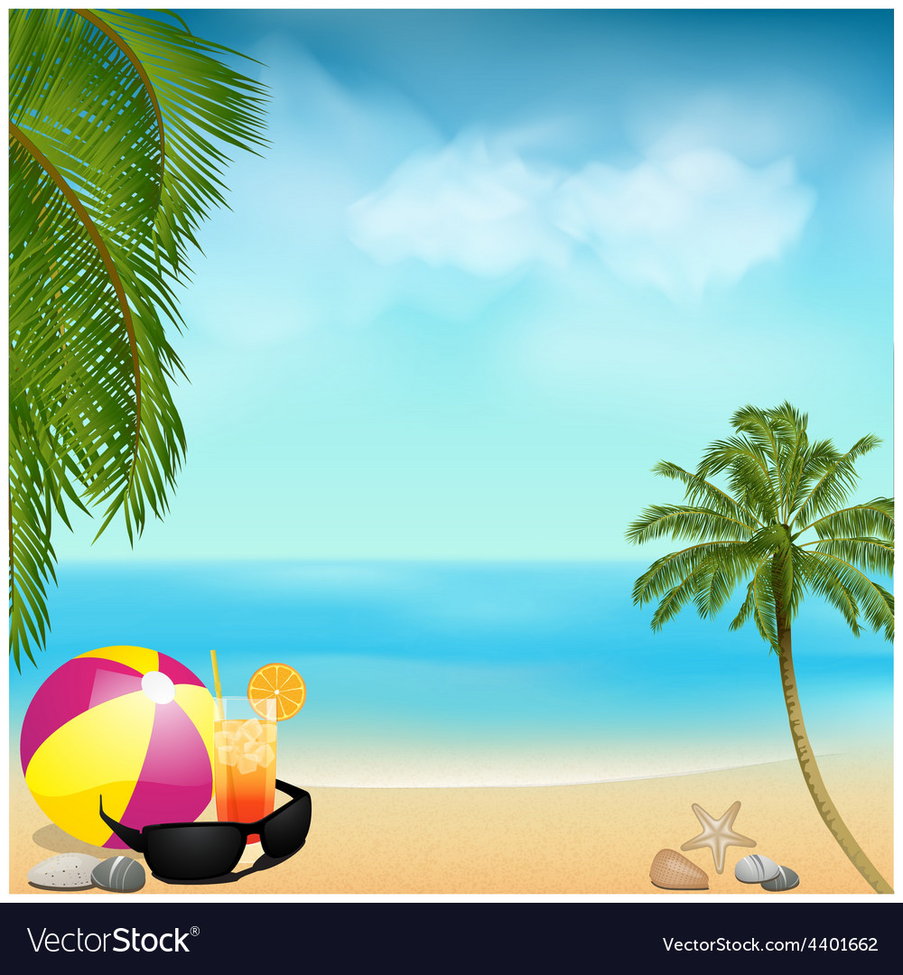 Summer beach background with palms and ball vector | Price: 3 Credit (USD $3)