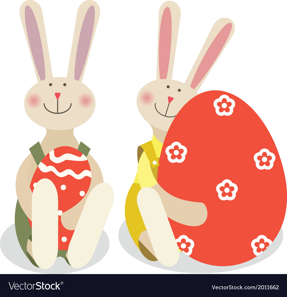 Two easter rabbits vector | Price: 1 Credit (USD $1)