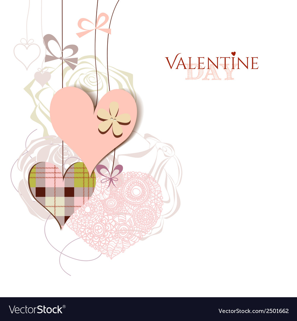 Valentine card cute hanging hearts vector | Price: 1 Credit (USD $1)