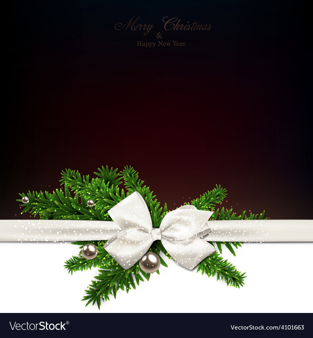 Christmas background with fir branches and baw vector | Price: 1 Credit (USD $1)
