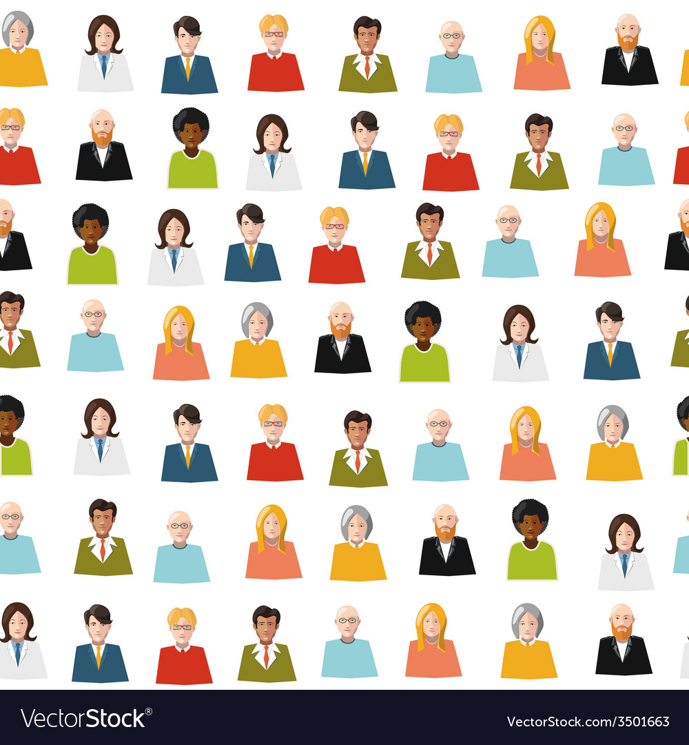 Crowd of color flat people seamless pattern vector | Price: 1 Credit (USD $1)