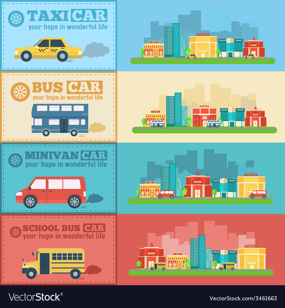 Flat city cars infographic banners traffic vector | Price: 1 Credit (USD $1)