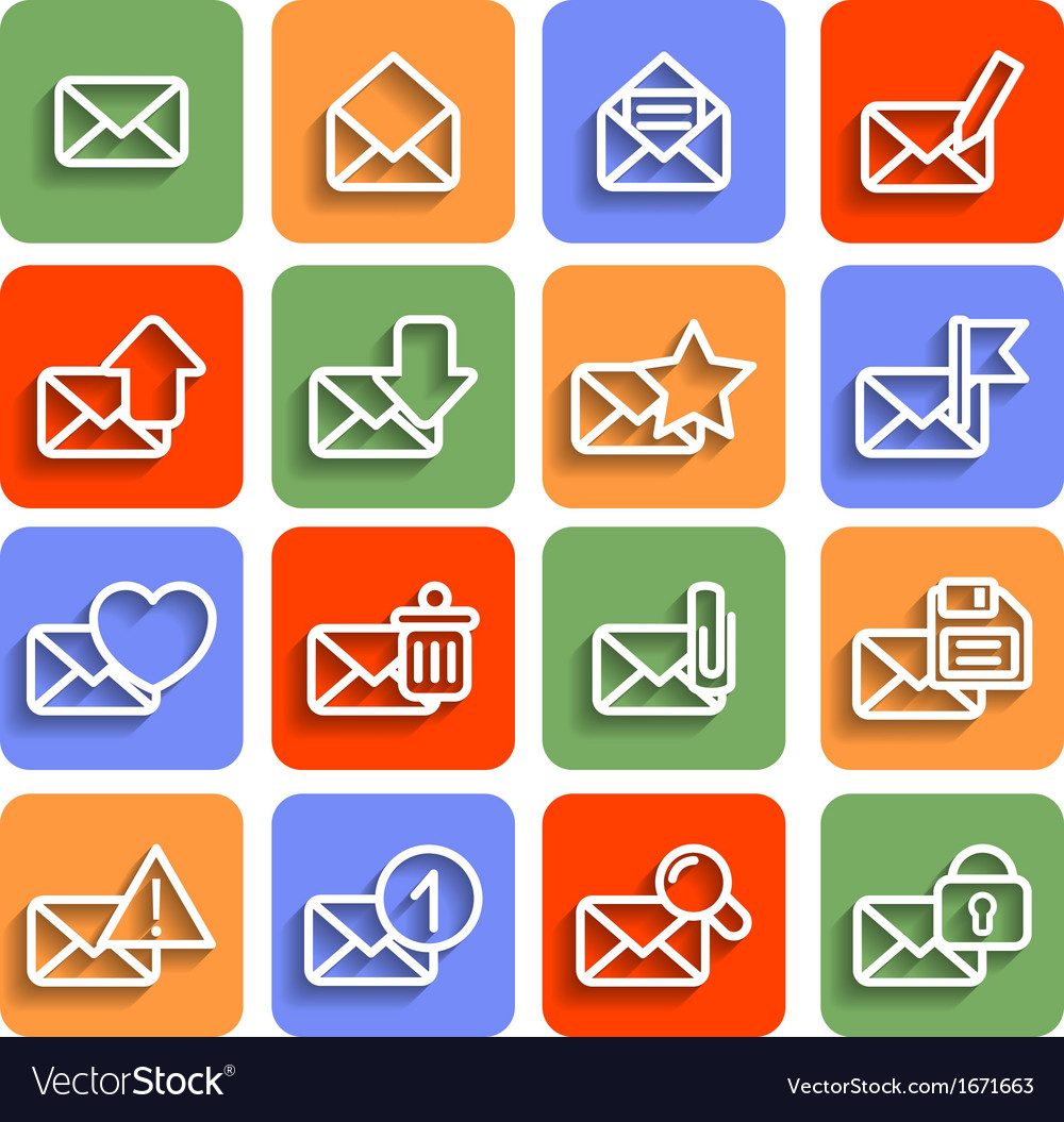 Flat envelope icons with shadow vector | Price: 1 Credit (USD $1)