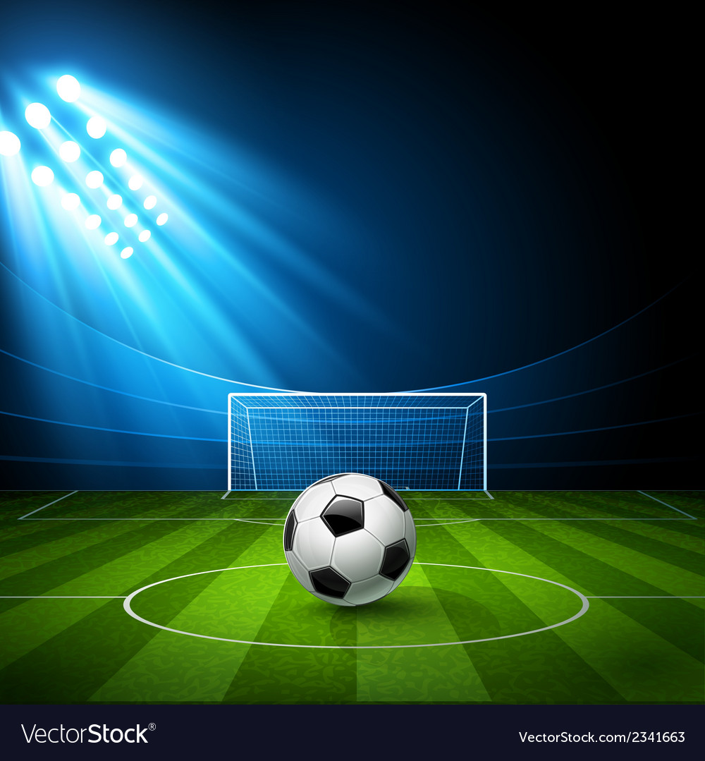Football arena stadium with a soccer ball vector | Price: 3 Credit (USD $3)