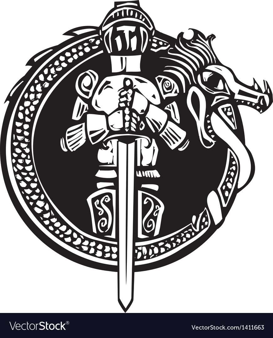 Knight in dragon circle vector | Price: 1 Credit (USD $1)