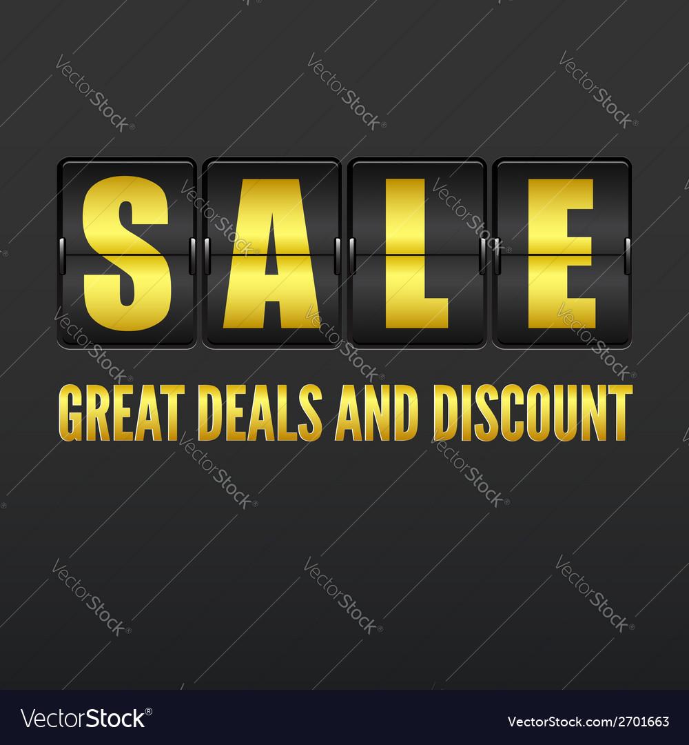 Sale analog flip clock display vector | Price: 1 Credit (USD $1)