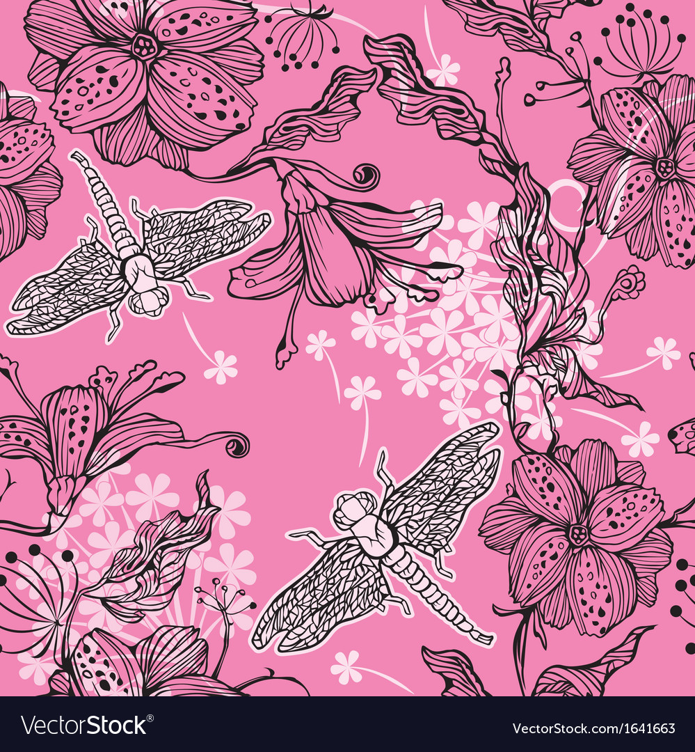 Seamless floral pattern with hand-drawn flowers an vector | Price: 1 Credit (USD $1)