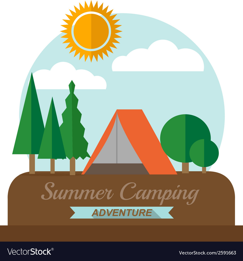 Summer camping adventure landscape vector | Price: 1 Credit (USD $1)