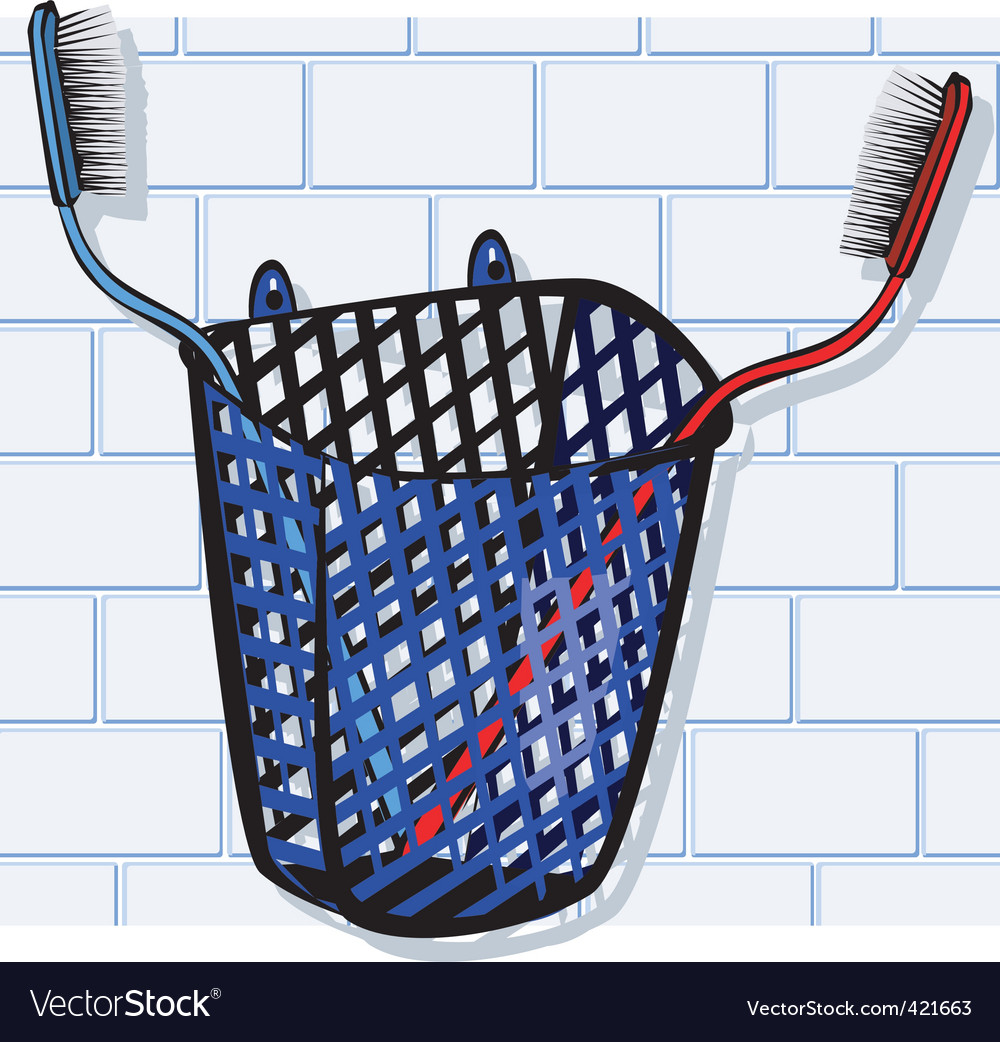 Toothbrush in basket vector | Price: 1 Credit (USD $1)