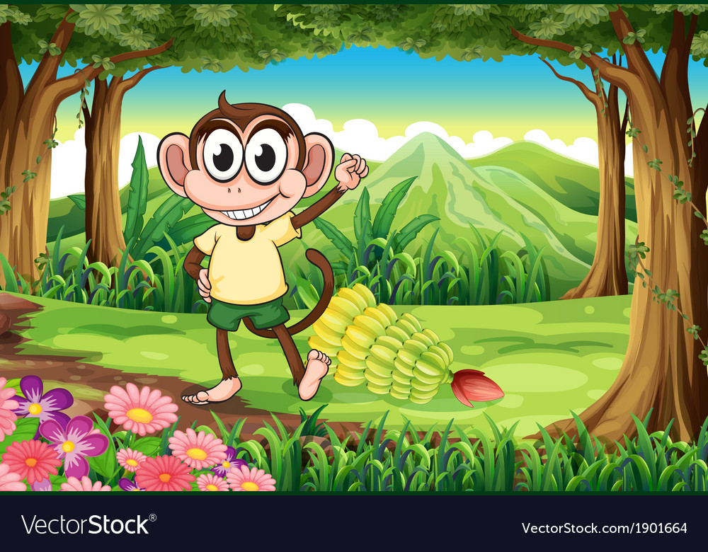 A smiling monkey at the forest with bananas vector | Price: 5 Credit (USD $5)