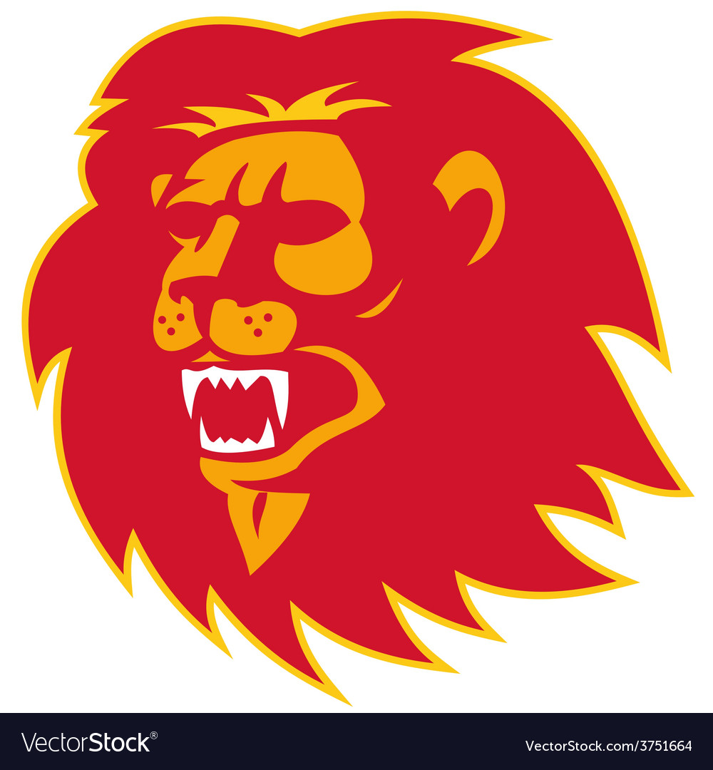 Angry lion head roaring vector | Price: 1 Credit (USD $1)