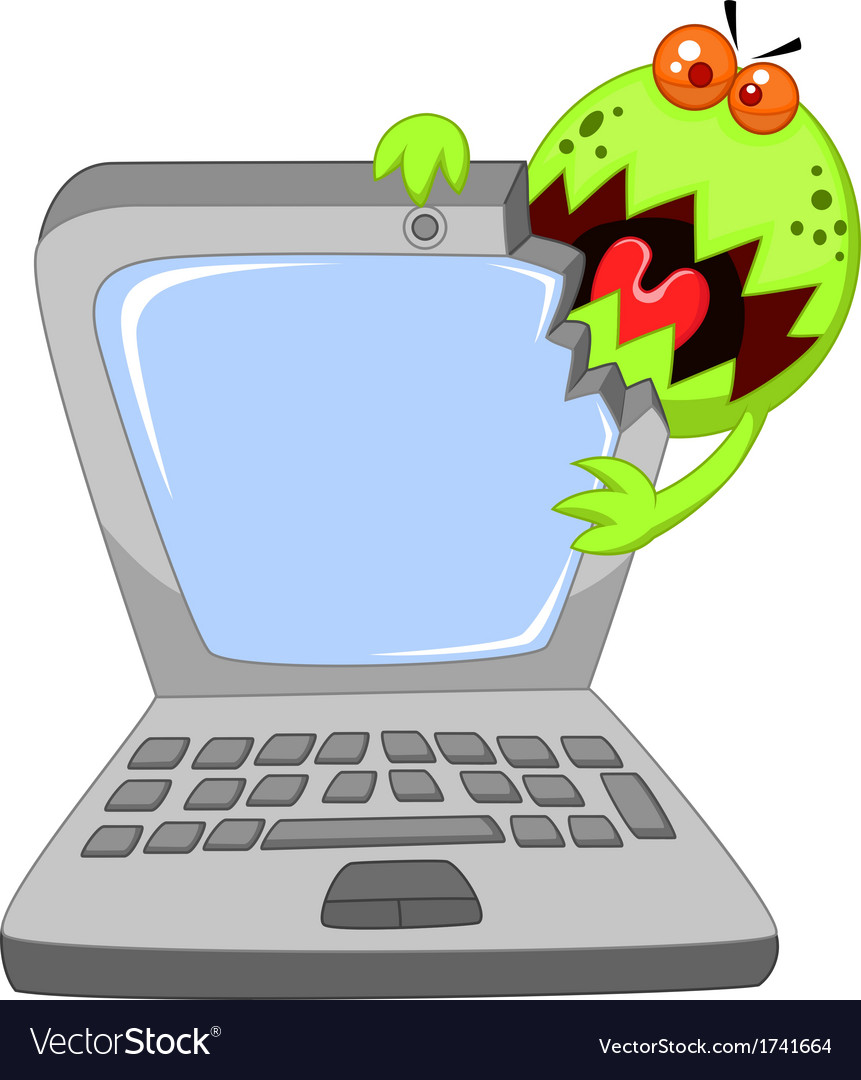 Cartoon laptop attacking by virus vector | Price: 1 Credit (USD $1)