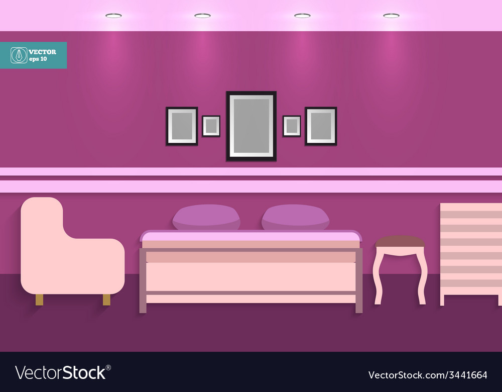 Flat interior bedroom vector | Price: 1 Credit (USD $1)