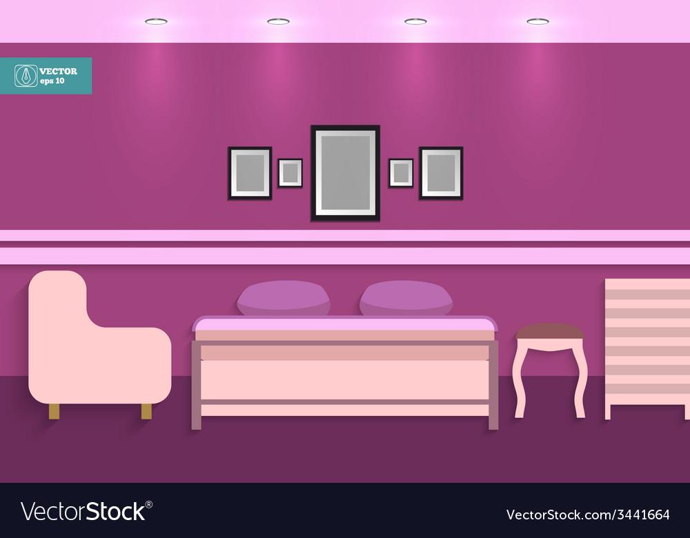 Flat interior bedroom vector | Price: 1 Credit (USD $1)