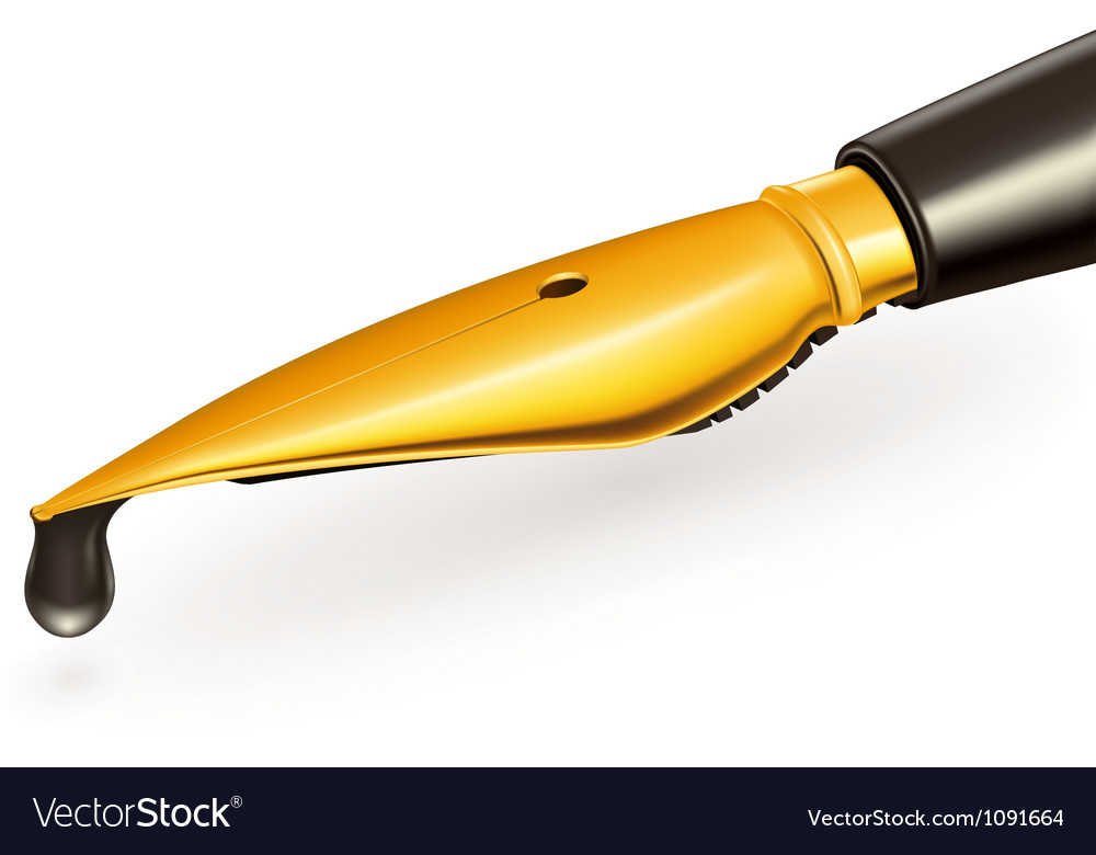 Gold ink pen vector | Price: 1 Credit (USD $1)