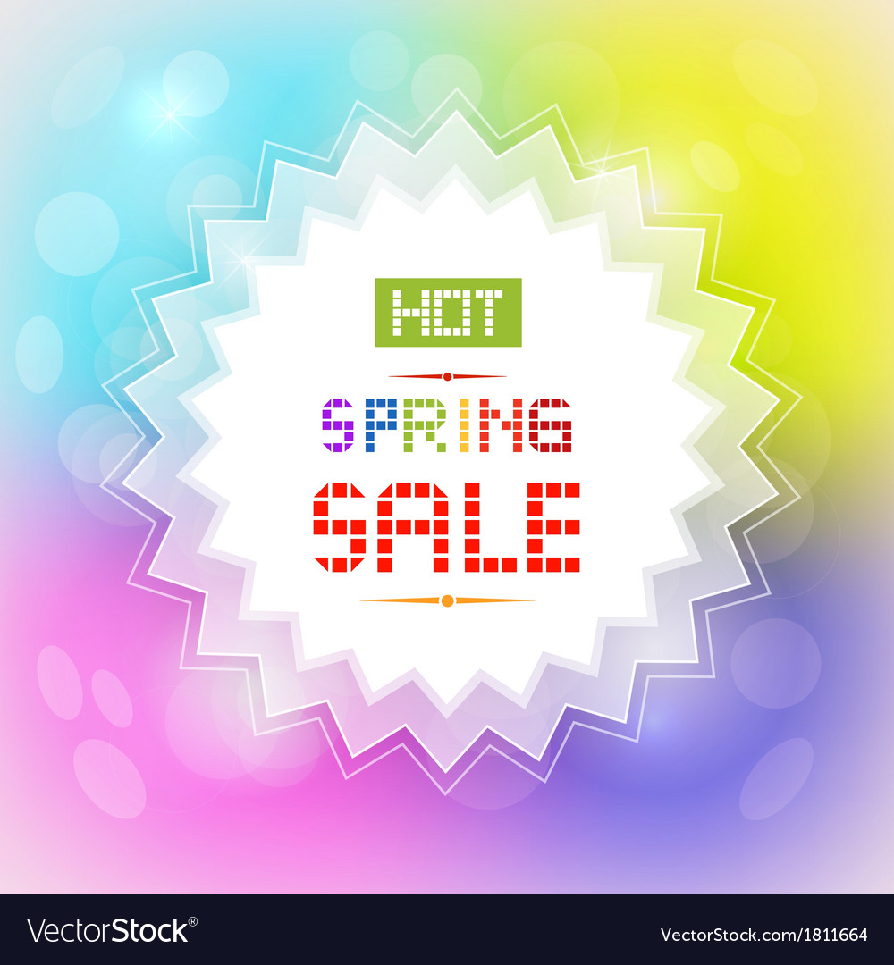 Hot spring sale tag on colorful background vector | Price: 1 Credit (USD $1)