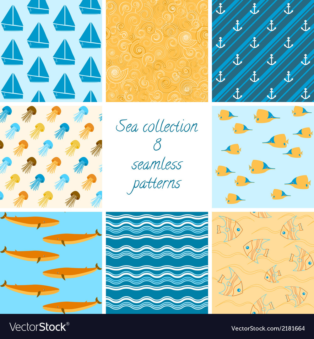 Marine patterns collection 2 vector | Price: 1 Credit (USD $1)