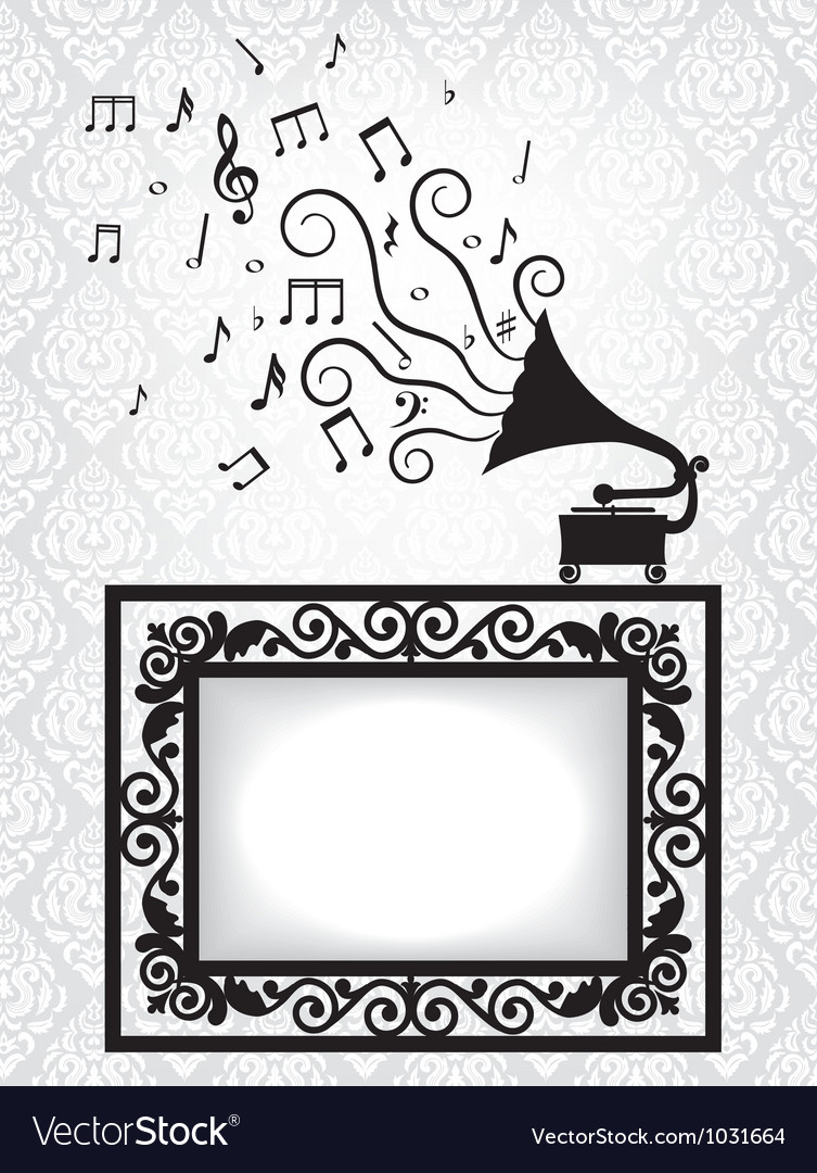 Music card with gramophon vector | Price: 1 Credit (USD $1)