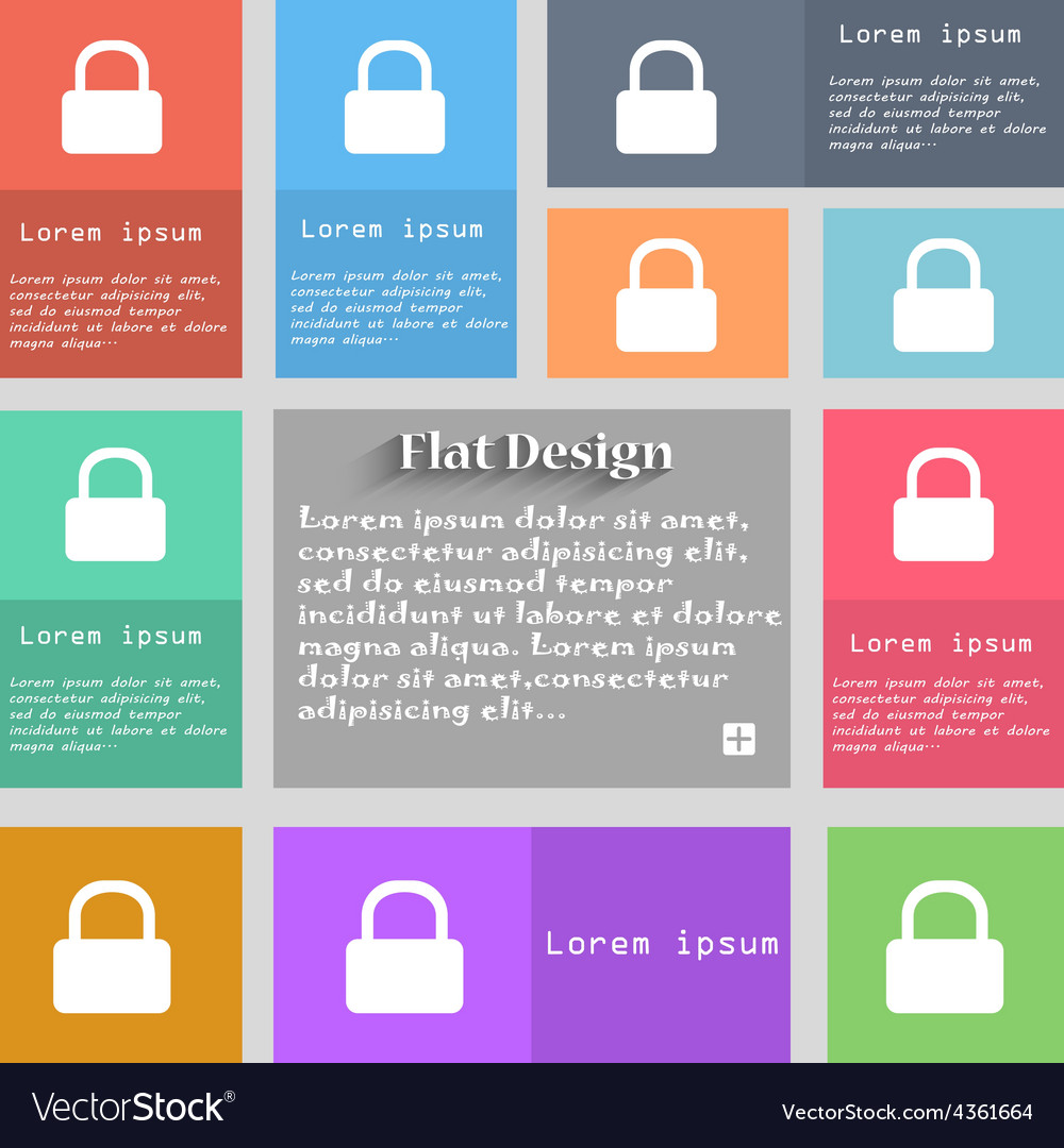 Pad lock icon sign set of multicolored buttons vector | Price: 1 Credit (USD $1)