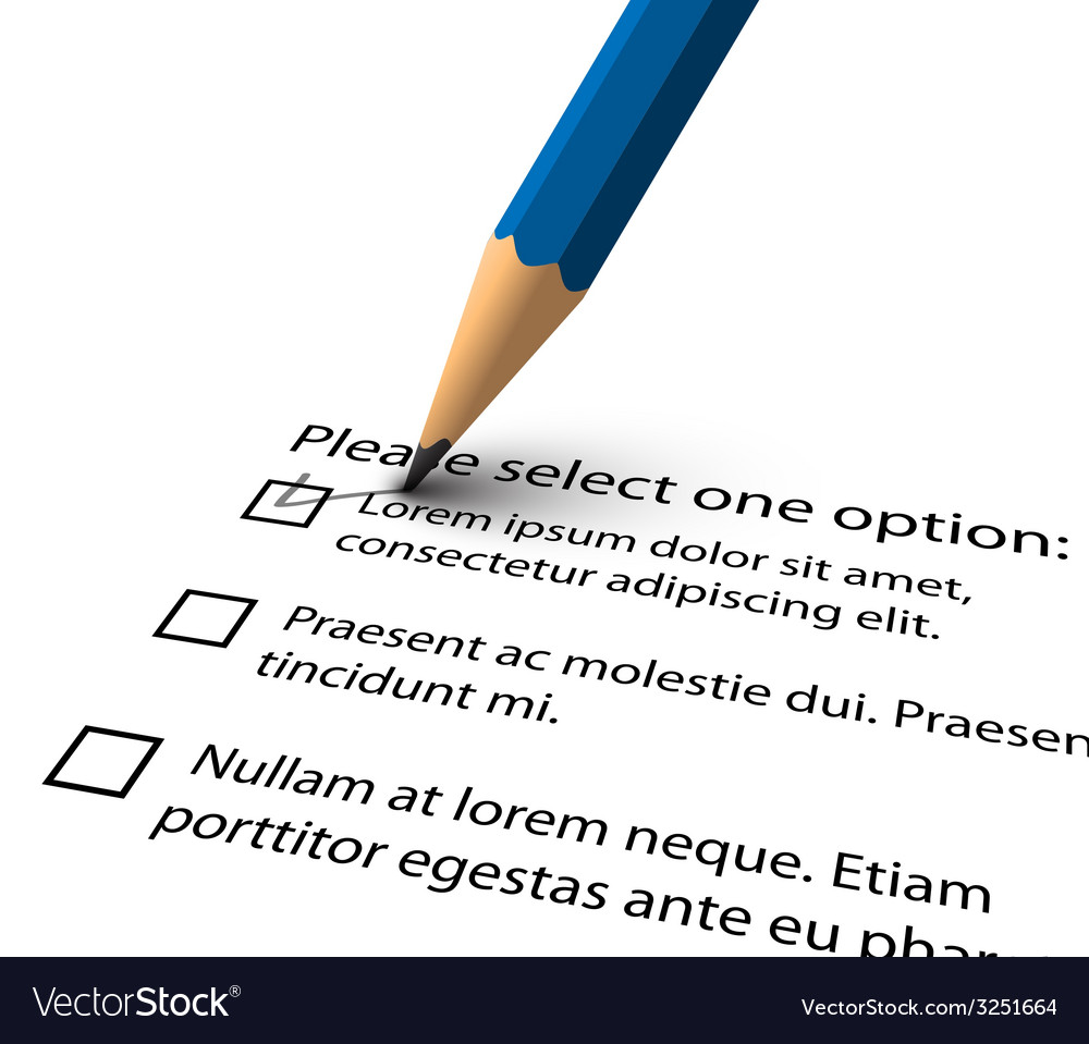 Pencil filling up the questionnaire on white paper vector | Price: 1 Credit (USD $1)