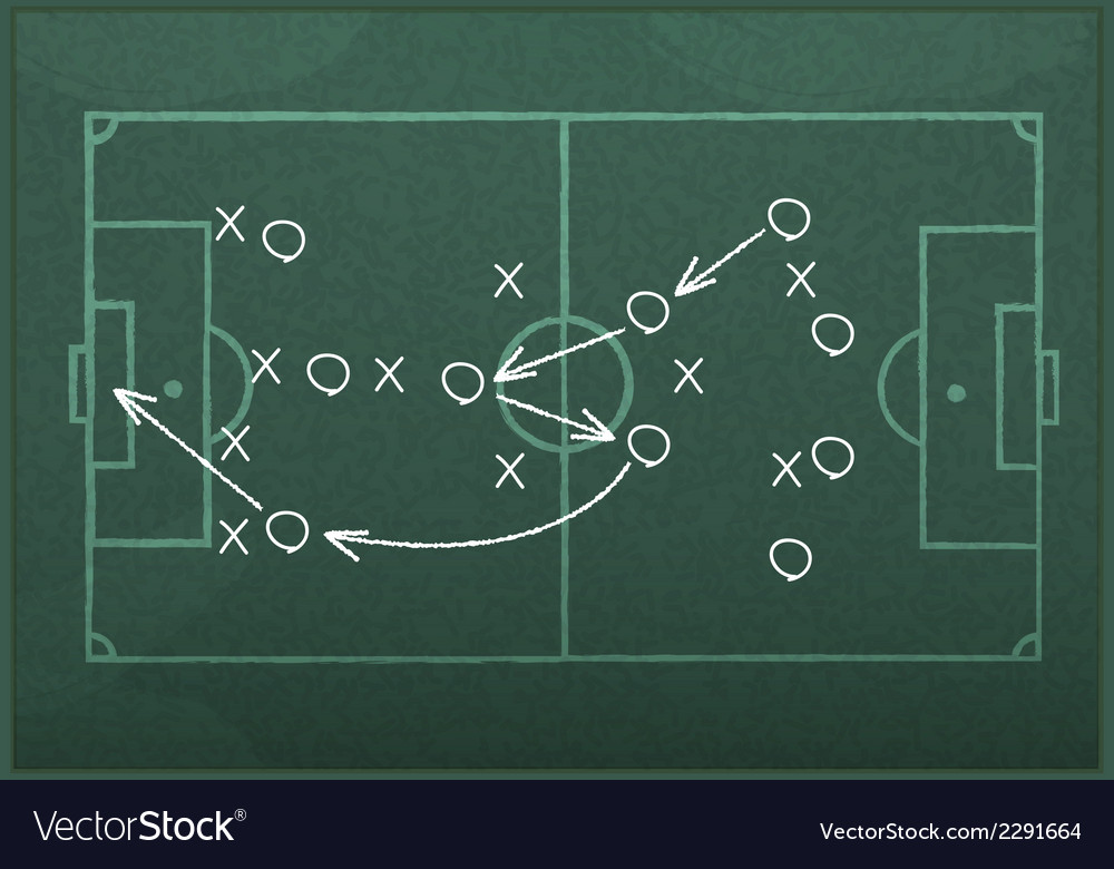 Realistic blackboard drawing a soccer game strateg vector | Price: 1 Credit (USD $1)