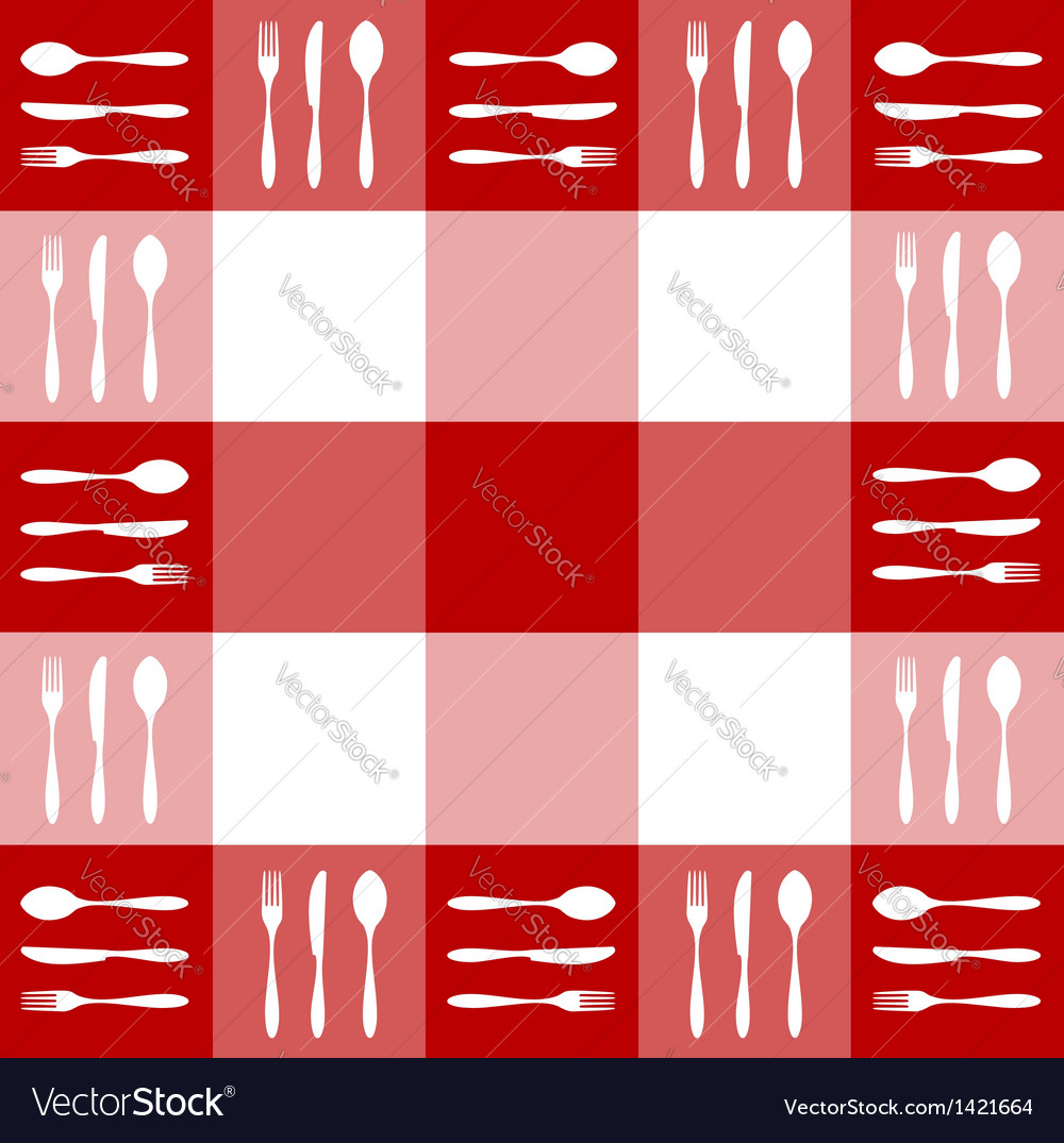 Red tablecloth texture with cutlery pattern vector | Price: 1 Credit (USD $1)