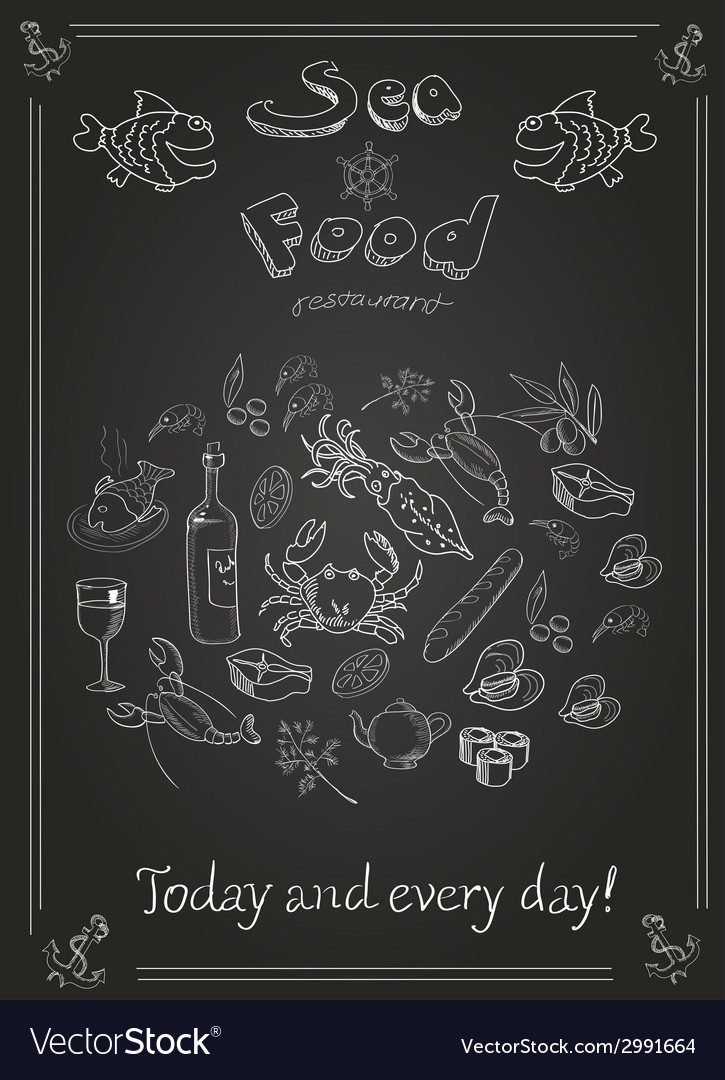 Set of hand drawn seafood on blackboard vector | Price: 1 Credit (USD $1)