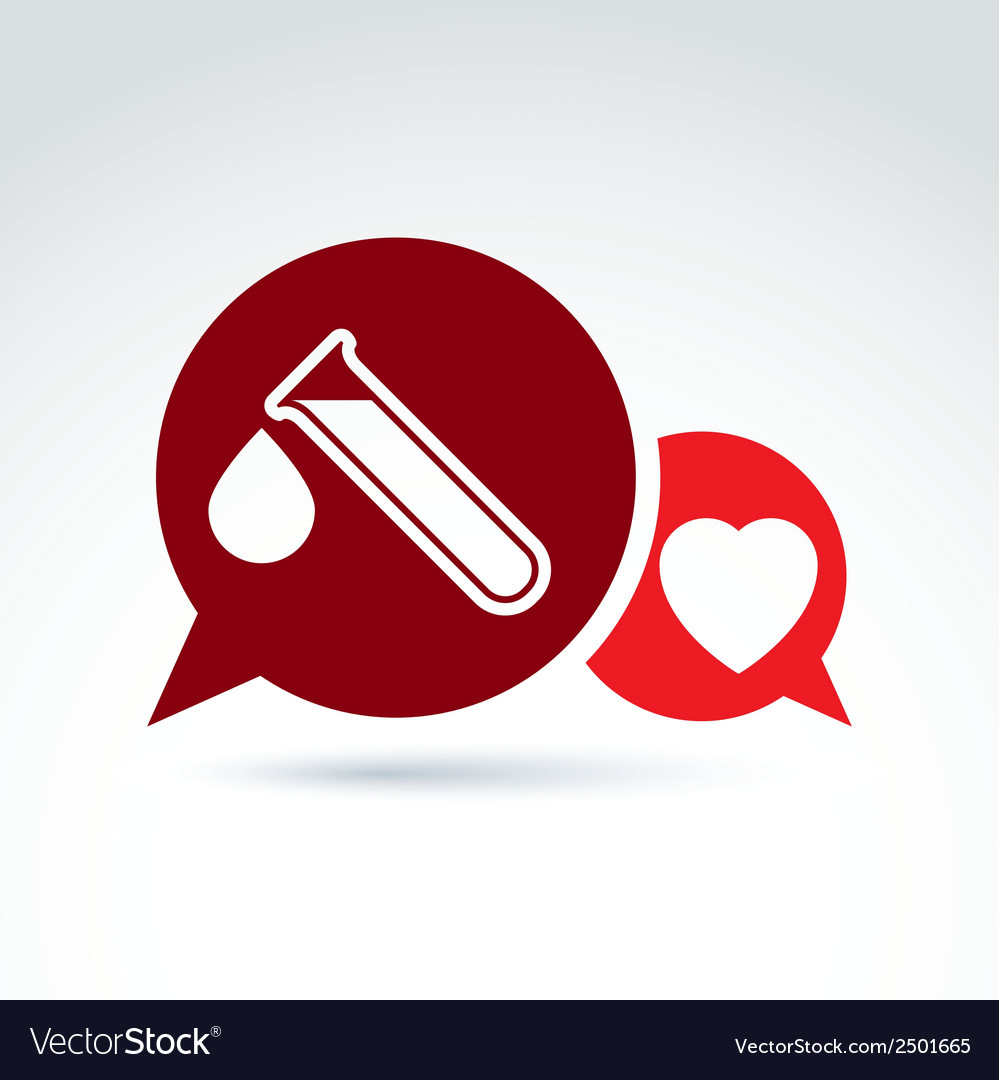 A red heart symbol and test tube with a b vector | Price: 1 Credit (USD $1)