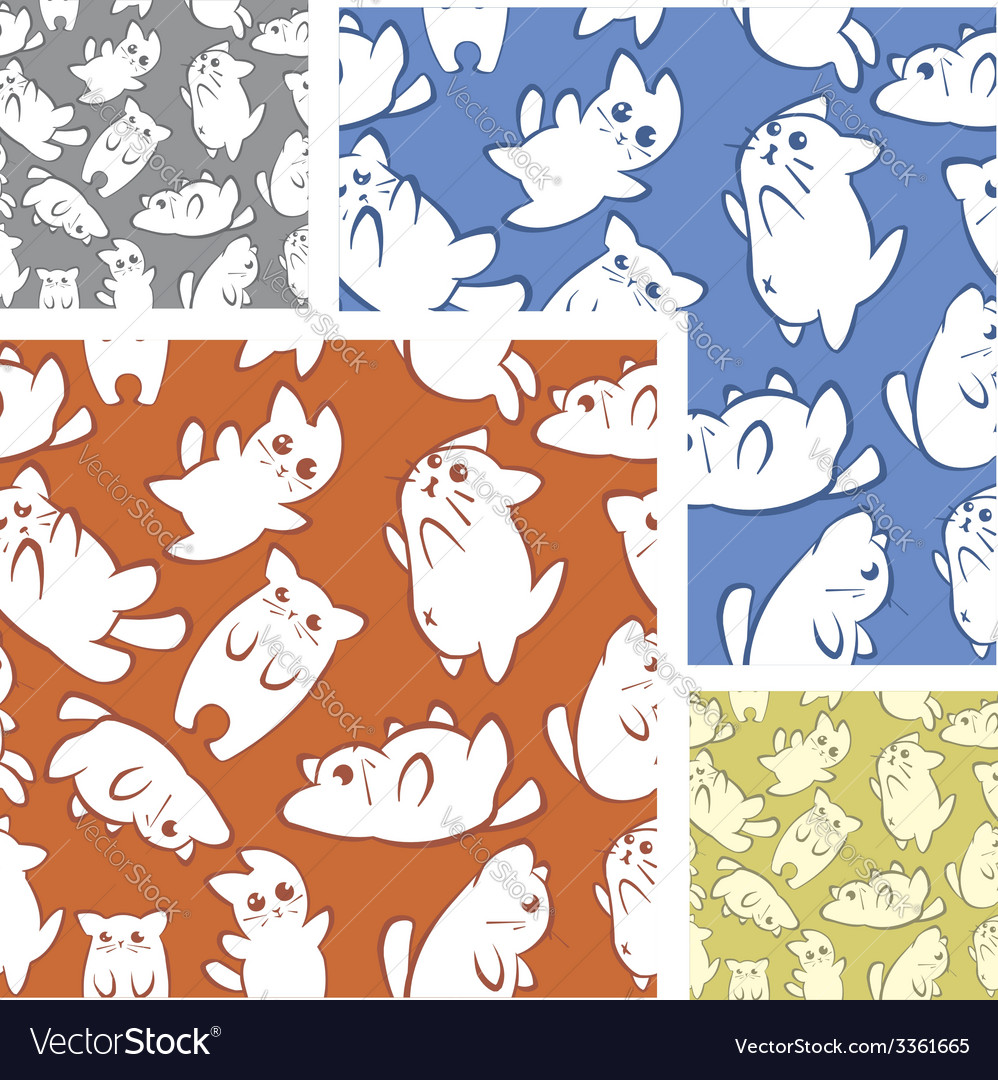 Cats and kittens - seamless pattern set vector   Price: 1 Credit (USD $1)