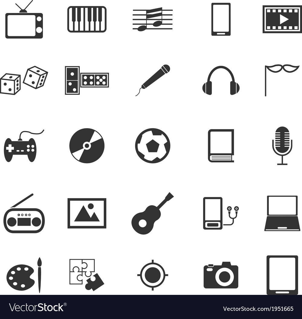Entertainment icons on white background vector | Price: 1 Credit (USD $1)