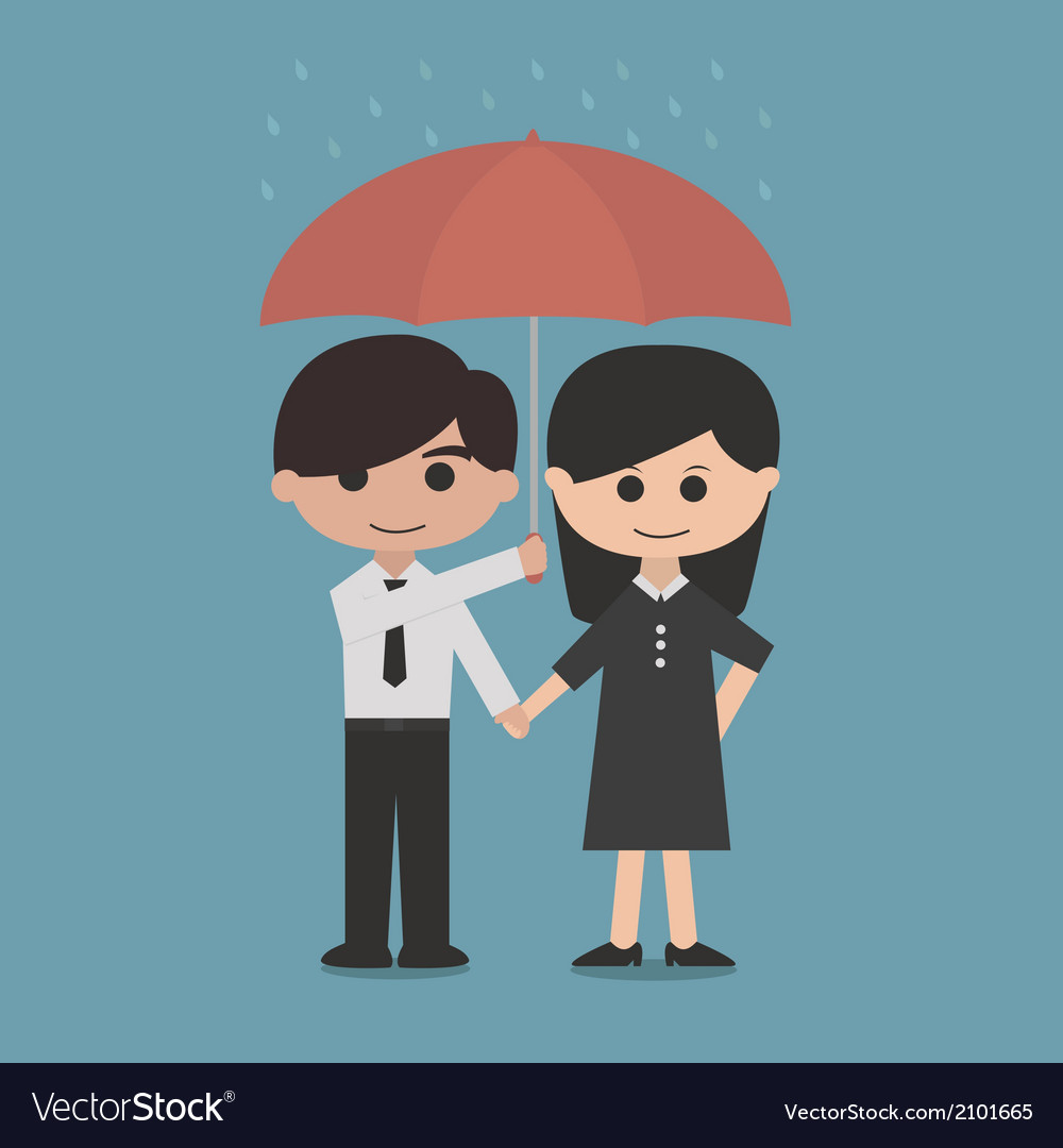 Man and woman under a red umbrella vector | Price: 1 Credit (USD $1)