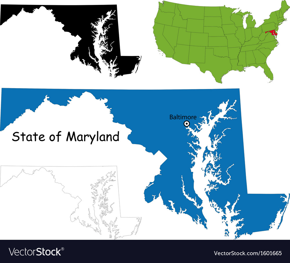 Maryland map vector | Price: 1 Credit (USD $1)