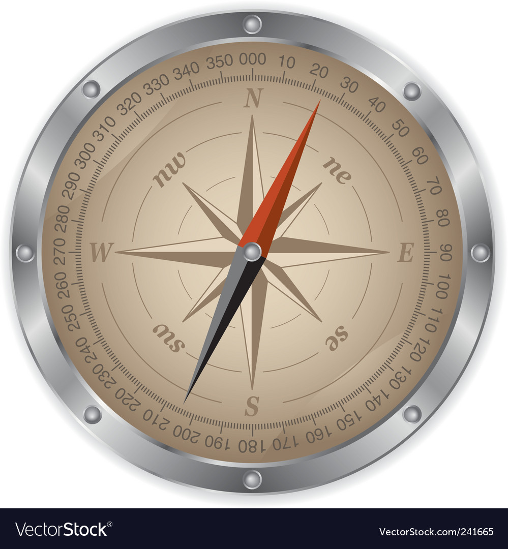 Metal compass vector | Price: 1 Credit (USD $1)