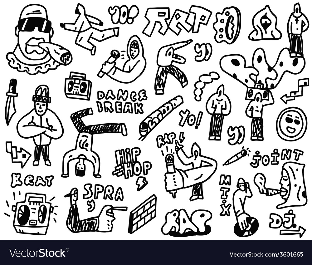 Rap  hip hop - doodles set vector | Price: 1 Credit (USD $1)
