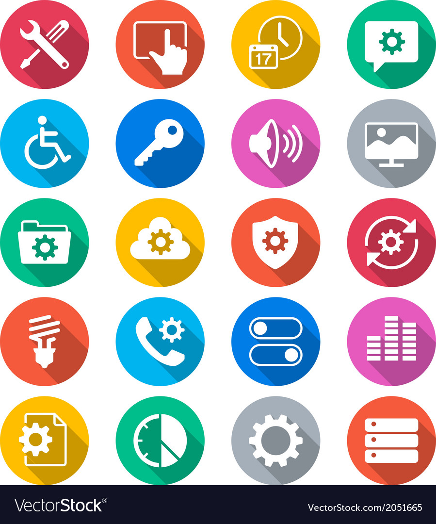 Setting flat color icons vector   Price: 1 Credit (USD $1)