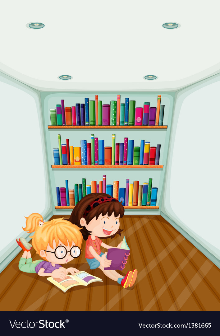 Two girls reading inside the room vector | Price: 1 Credit (USD $1)