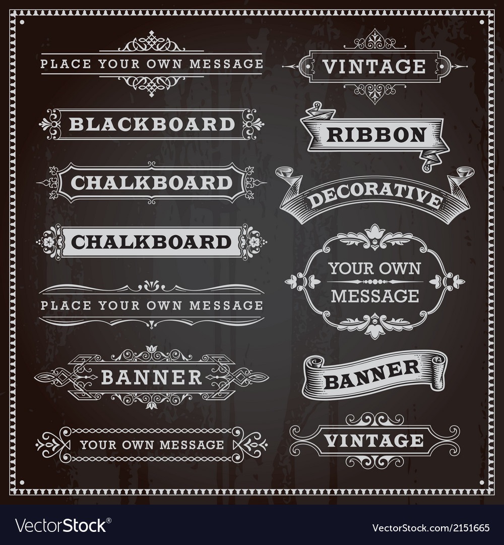 Vintage banners frames ribbons chalkboard style vector | Price: 1 Credit (USD $1)