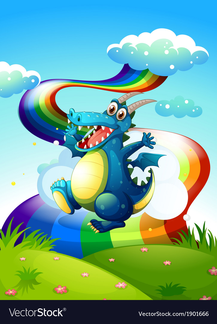 A dragon at the hilltop and a rainbow in the sky vector   Price: 3 Credit (USD $3)