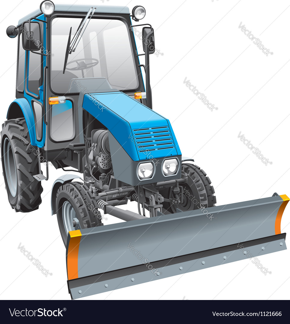 Blue snow fighter tractor vector | Price: 5 Credit (USD $5)