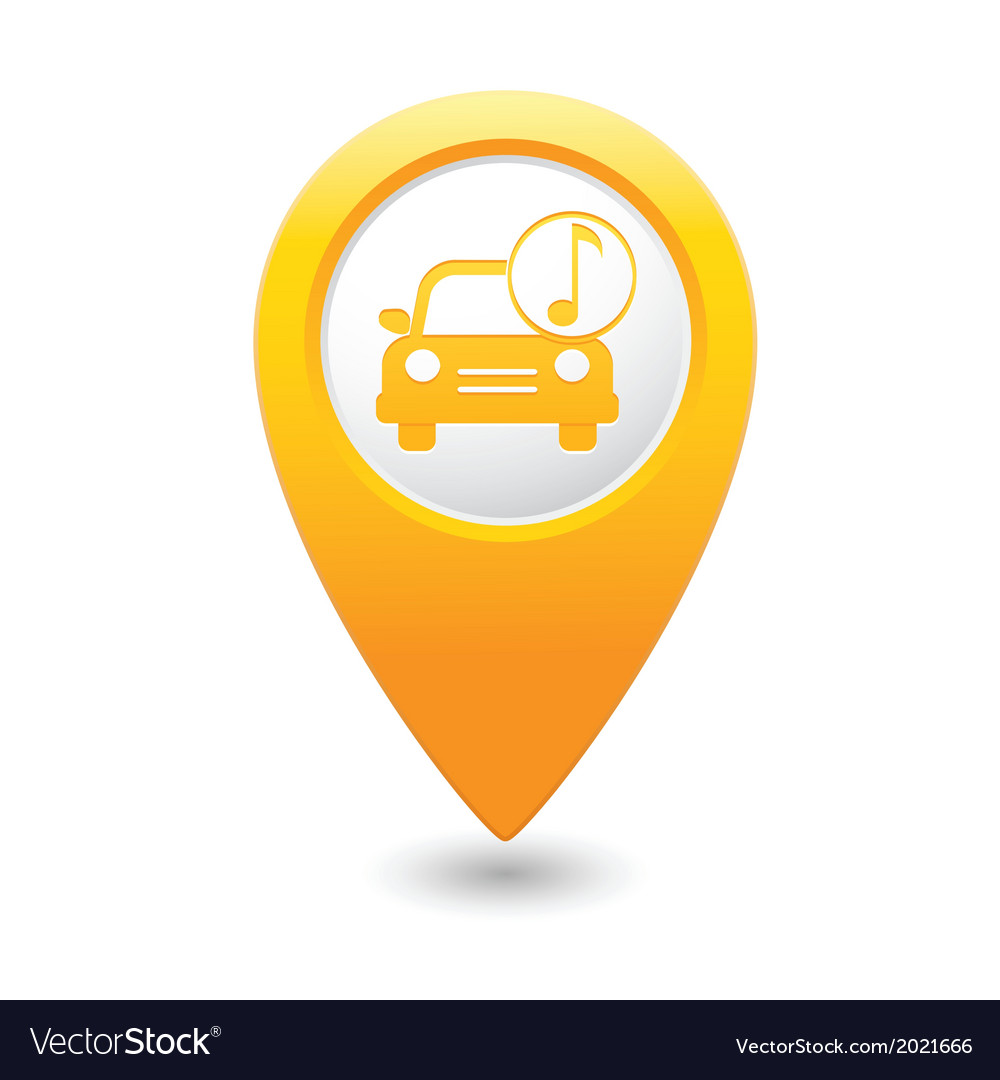 Car with music icon map pointer yellow vector | Price: 1 Credit (USD $1)