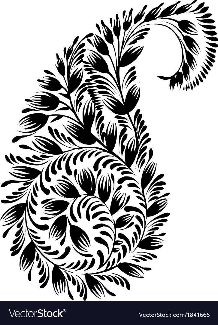 Decorative silhouette of a floral paisley vector | Price: 1 Credit (USD $1)