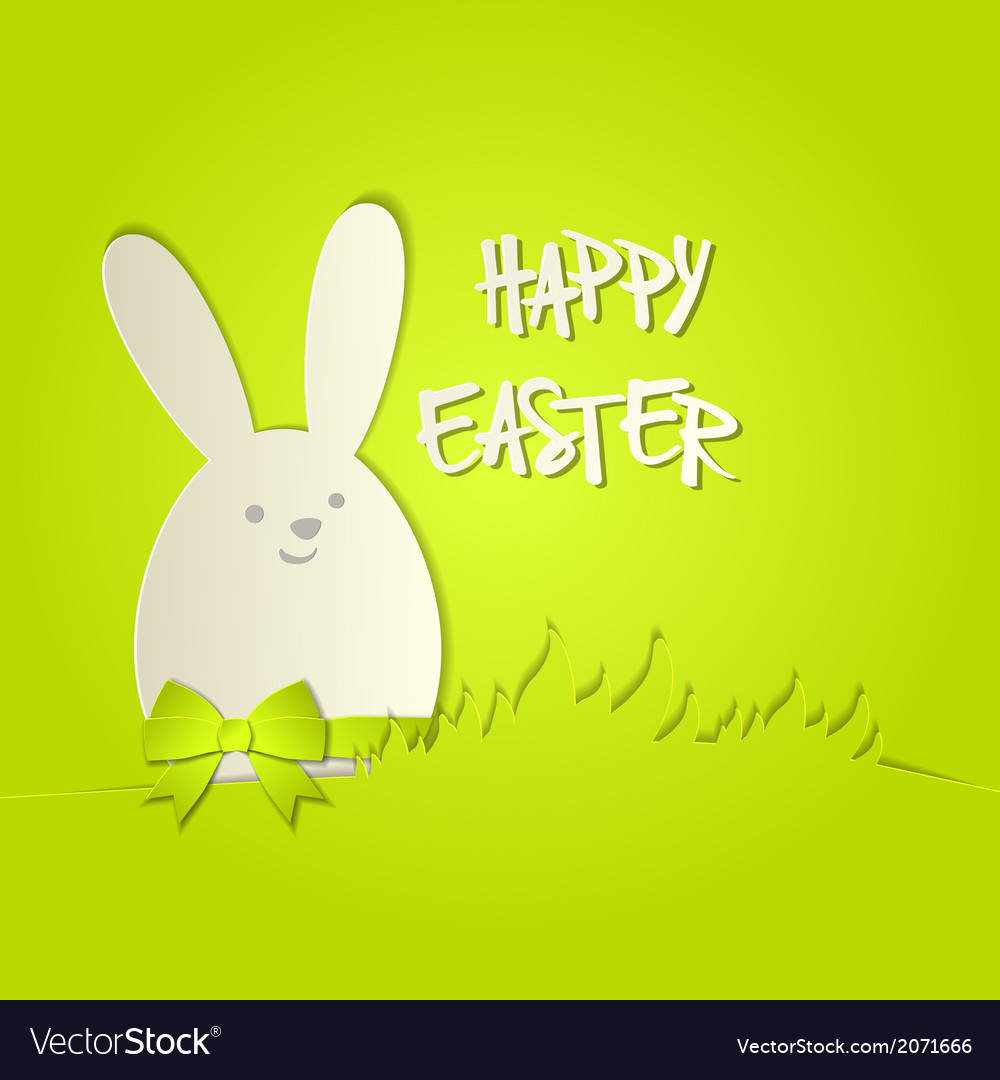 Easter bunny with a bow greeting card vector   Price: 1 Credit (USD $1)