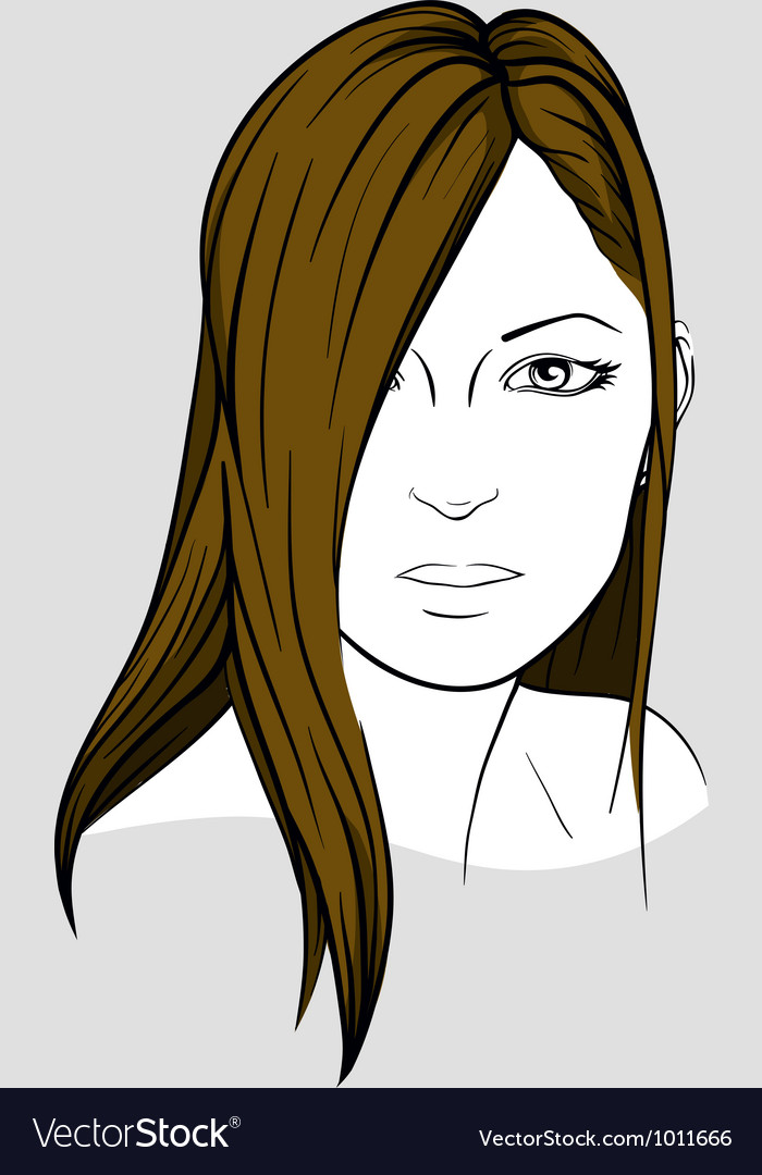 Face of woman with long straight hair vector | Price: 3 Credit (USD $3)