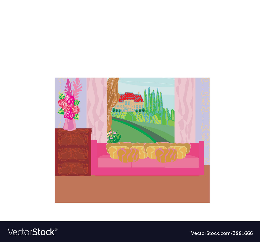 Fashionable interior of living room - vector | Price: 1 Credit (USD $1)