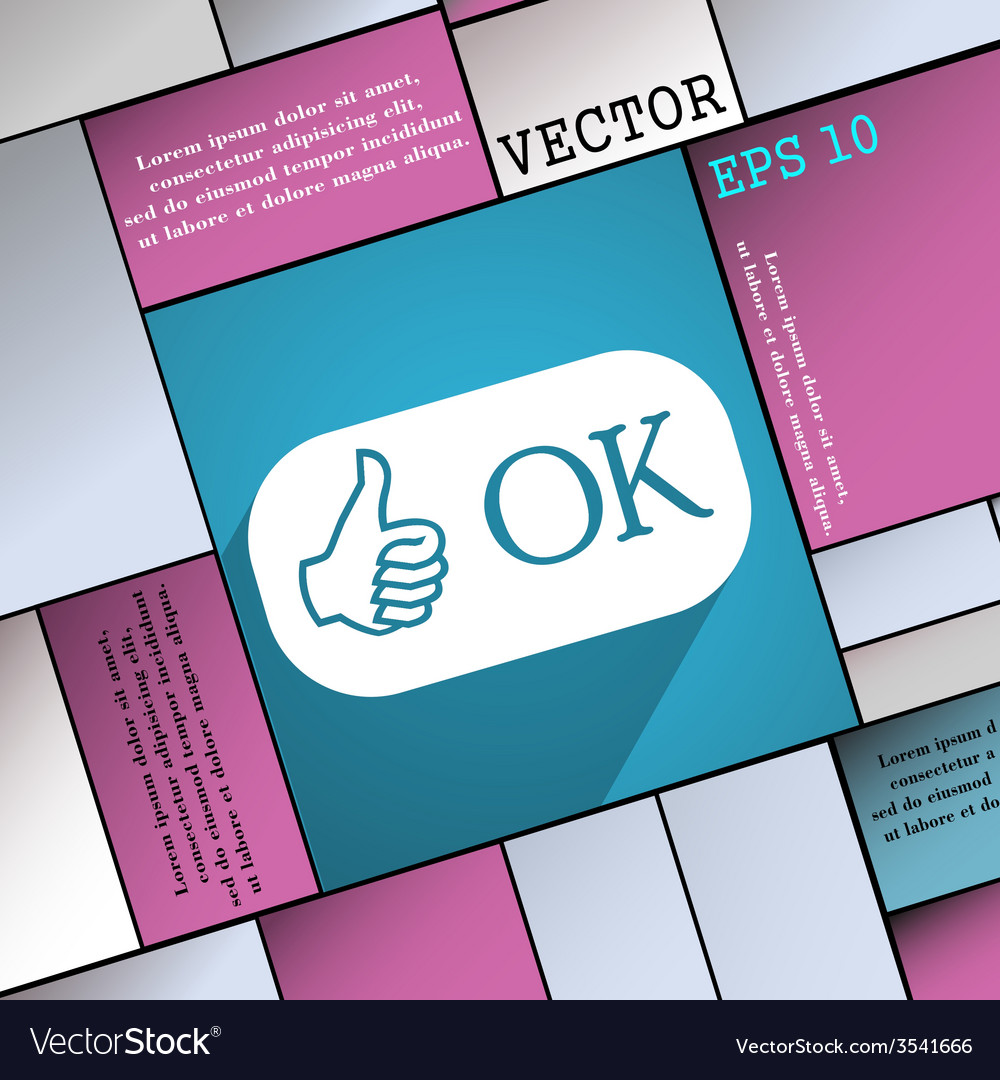 Ok icon symbol flat modern web design with long vector | Price: 1 Credit (USD $1)